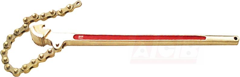 Chain pipe wrench non sparking