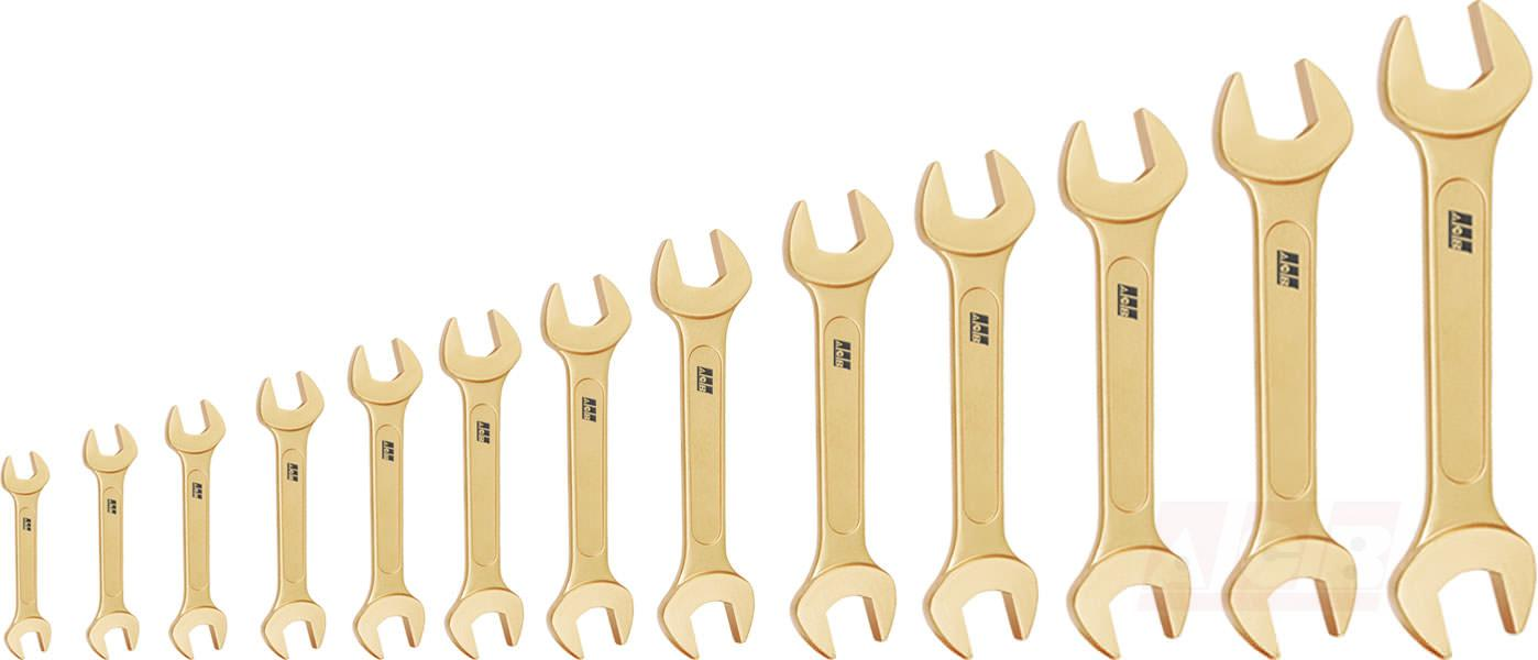 Double open end wrench - Set of 13 pieces non sparking